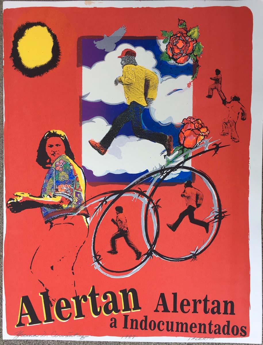 """Alerta"" exhibition (1987) YDC serigraph experiment, 26 x 20"", 1987 (Self Help Graphics).   Courtesy of Yreina D. Cervántez"