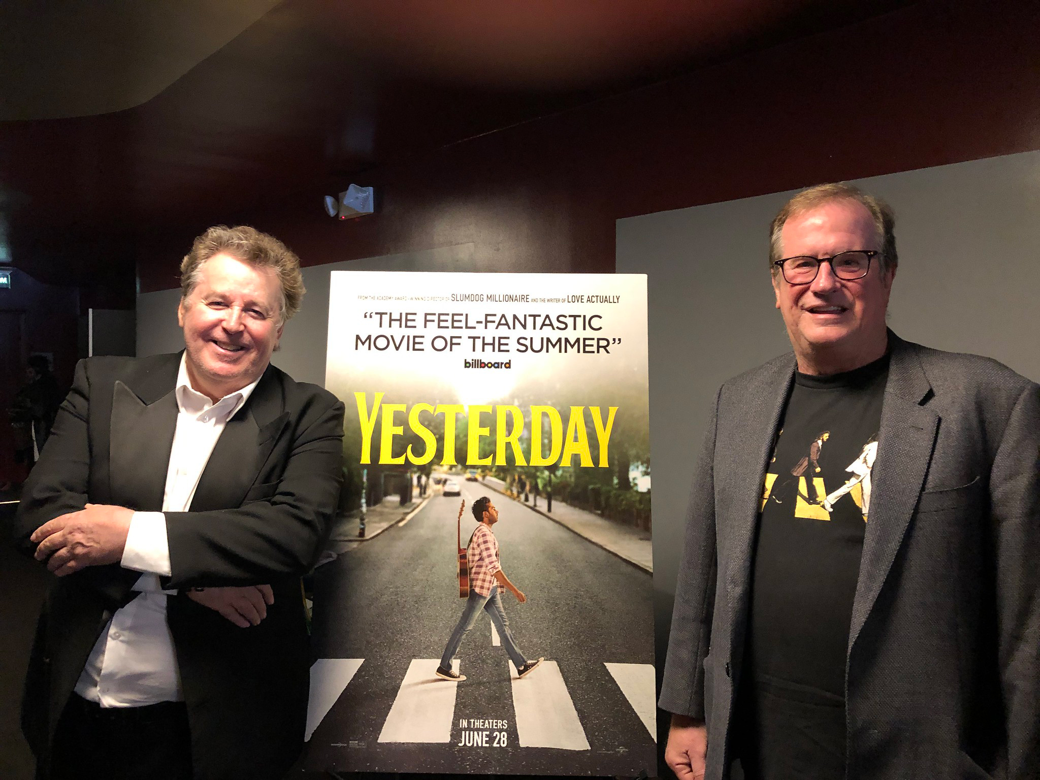 "Cinema Series host Pete Hammond with Beatles Authority Martin Lewis after a screening of ""Yesterday"""