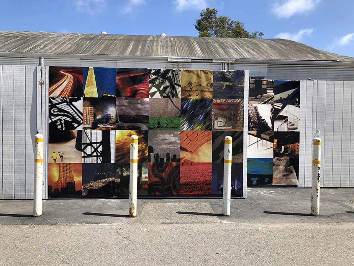 """""""Grid City,"""" Digital Banners, 2000/2020 by Jody Zellen   Courtesy of the artist"""