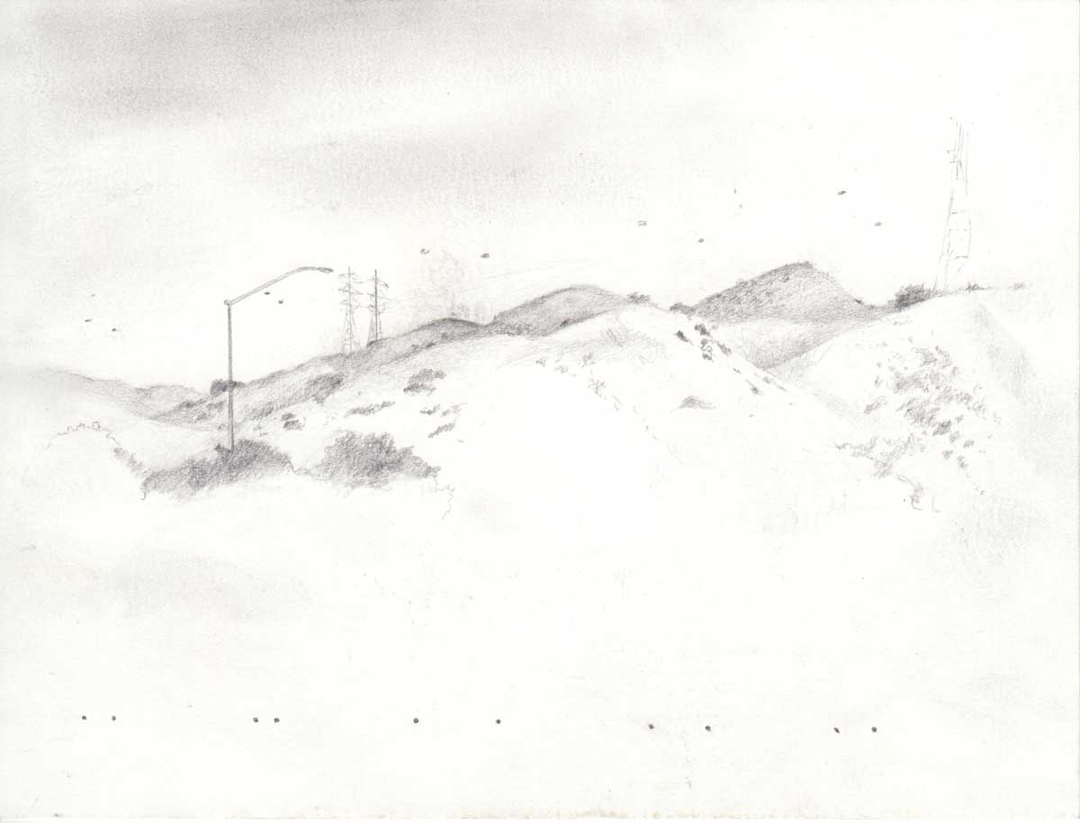 "Thomas Zummer's drawing at San Clemente Border Station for ""Three Border Ecologies"" 